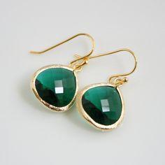 Gold Emerald Green Earrings Glass Emerald Jewelry. $22.00, via Etsy.