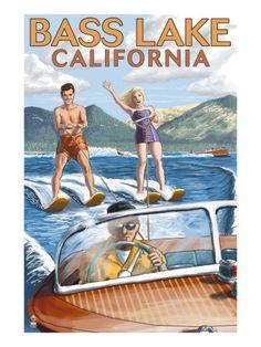 Bass Lake, California - Water Skiing, c.2009 Premium Poster