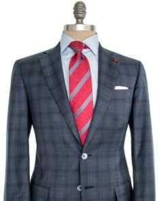 Image of Isaia Grey and Blue Plaid with Sky Blue Windowpane Suit