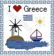 I Love Greece cross stich