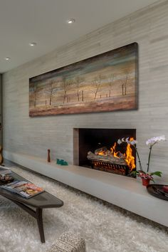 Drawn to the idea of a stone or concrete bench the entire length of the wall ... so sitting in front of the fireplace.