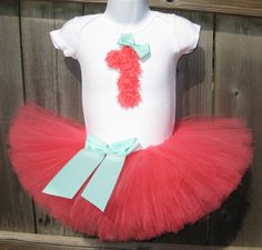 Coral and Aqua First Birthday Tutu Set | First Birthday Coral Rosette 1 and Tutu, Aqua Bows, and Matching Headband by Zobows on Etsy https://www.etsy.com/listing/165038644/coral-and-aqua-first-birthday-tutu-set