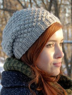 Free Knitting Pattern for Trinity Hat - Slouch beret in the trinity stitch. Designed by Breadnbadger. Pictured project by knittedblissJC who used less than a skein of yarn