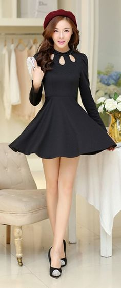 Cute A-line Mini Dress With Pearl Neck Line YRB0442 #blackminidress