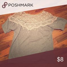 Lace T-Shirt Worn once. Off brand. Cute hippie, Boho detail. Fits small to medium. Tops Tees - Short Sleeve