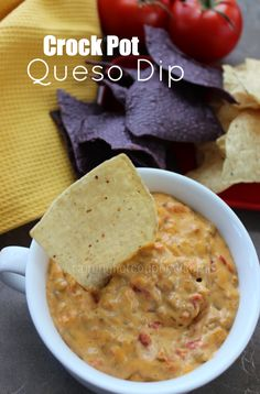 Crock Pot Queso Dip` 1 pound ground beef (or sausage), 1 onion diced, 1 tsp minced garlic, 2 lb velveeta or cream cheese, 2 tbsp diced jalapeño peppers, 1 tbsp taco seasoning, 2 10 oz can rotel tomato and chiles, 1 bunch green onions for garnish