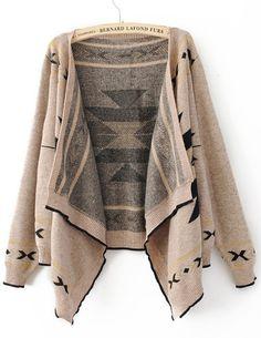 Khaki Long Sleeve Asymmetrical Cardigan Sweater