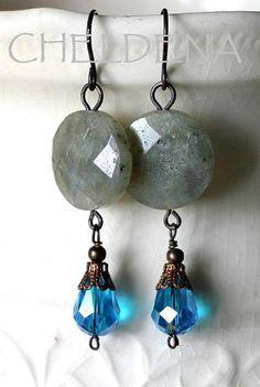 NEW Genuine Labradorite Faceted Gemstone Coin Earrings by cheldena, $18.00
