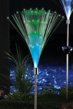 Solar Fiber Optic Light Fountain Garden Stake