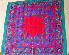 Vintage Scarf Magnificent French La Fleur Bright by Multi Coloured Scarves, Study Photos, Vintage Scarf, Bohemian Rug, Vintage Items, Bright, French, This Or That Questions, Colors