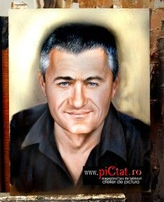 Tablouri pictate: Picturi in ulei pe panza dupa fotografie portret de barbat grizonat