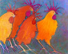 Whimsical Funky Fun Colorful Chicken Art Print, backyard hobby Farm chicks, French kitchen rooster