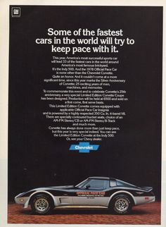 1978 Chevrolet Corvette Indy 500 Pace Car Ad: the car my dad has!