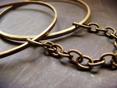 BDSM submissive handcuff bracelets   vintage brass by wantonwares