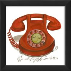 Red Rotary Desk Phone