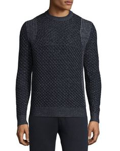 "Theory ""Cellan"" sweater in two-tone cable knit. Ribbed neckline, cuffs, and hem. Crew neckline. Long sleeves. Pullover style. Merino wool. Imported of Italian material."