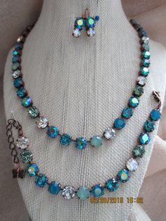 Ocean's Swarovski 8MM Necklace in a Antique by JewelryfromMyGarden