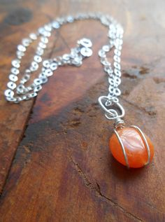 Sterling Silver Wrapped Tangerine Bead Necklace by SFDesigns2015