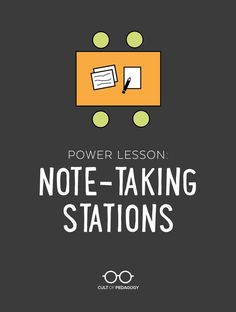 Power Lesson: Note-Taking Stations To take quality notes, students need to be taught how. This fantastic station-rotation lesson gets the job done, and it can be used with all kinds of other content as well. Notes Taking, Note Taking Strategies, Teaching Strategies, Teaching Tips, Teaching Study Skills, Problem Based Learning, Learning Theory, Social Studies Classroom, School Classroom