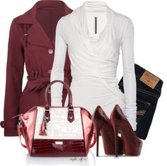 Not one for purses but the purse brings this outfit together. I like the dark reds of this outfit