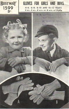 Bestway 1599 3 Ply Gloves for Girls & Boys 4-12 Years Vintage Knitting Pattern