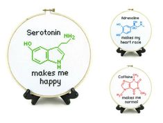Serotonin Molecule Cross Stitch Pattern by ShopDeliciousThreads