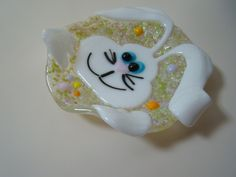 Rabbit fused glass spoon rest, for the cook, hostess gift, spring time, kitchen decor, for him, for her, Easter, rabbit lover, animal lover by HighfireGirl on Etsy