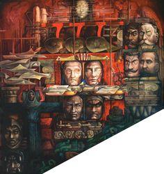 """Mural """"HISTÓRICA"""" de Jorge González Camarena, CUBO ARTÍSTICO DEL SENADO (muro lateral de la escalera principal) en la Casona de Xicotencatl, sede alterna del Senado de la República 103C"""