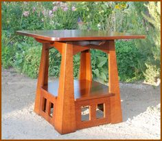 Voorhees Craftsman Mission Oak Furniture - Accurate Replica Rare Charles Limbert Pagoda Table