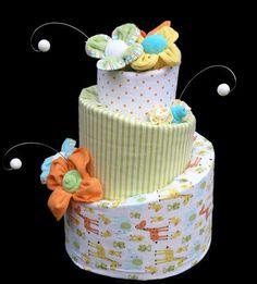 Gender Neutral Topsy Turvy Baby Shower Diaper Cake.