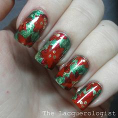 The Lacquerologist: Holiday Nail Art: Poinsettias!