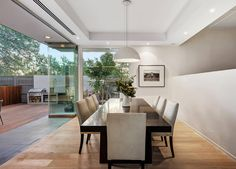 Summer style!! Modern contemporary dining room with glass walls! A Modern Classic