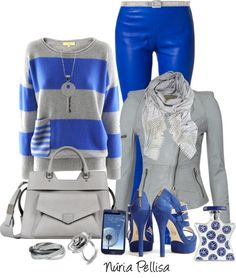 """Blue and Gray"" by nuria-pellisa-salvado on Polyvore"