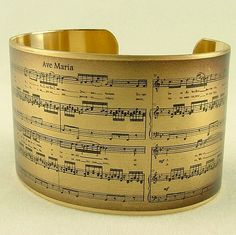 Sheet Music Art Jewelry - Schubert's Ave Maria Musical Handmade Brass Cuff Bracelet on Etsy, $40.00