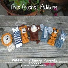 Wild Animal Finger Puppets - Free Crochet Pattern | Creative Crochet Workshop @creativecrochetworkshop