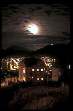 Moon over Tromsø.