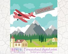 This cute plane themed print will make a great addition to a nursery or childrens room. Create your own printable today!  The above design includes personalising with baby/childs name on the banner. Each name will look slightly different to allow for best placement of the name. I will send through a draft for acceptance of placement before completion.   The digital file allows for printing to a maximum size of 20x20inch.  Our artwork will make a perfect addition to any home or a great pe...