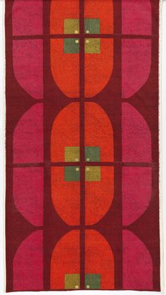"""Textile, """"Kyoto"""", 1965. Printed by Ljungbergs Textiltryck AB, Floda, Sweden and designed by Hans Krondahl. Medium: cotton. Technique: screen printed on supplementary weft pile (velveteen)."""