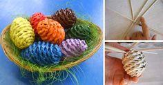 DIY návod na pletenie z papiera, tento krát to bude dekorácia na Veľkú Noc - pletené veľkonočné vajíčka z papiera. Nápad, handmade, ručné práce, noviny