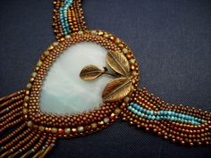 Turquoise Bead Embroidery Necklace  USD door PreciousHeartBeads