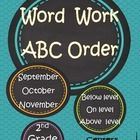 27 Pages, Colored Differentiated Centers and Black and White, Word Work: ABC Order - Fall  Season $ Sept., Oct., Nov. Nine Colored Centers, sheets for small groups, morning work, centers or homewo...