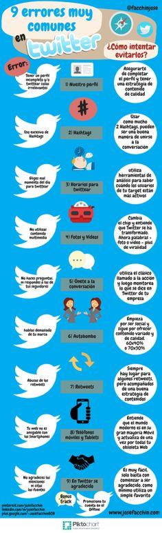 9 errores muy comunes en Twitter que harán fracasar tu estrategia y cómo intentar evitarlos  #Infografía