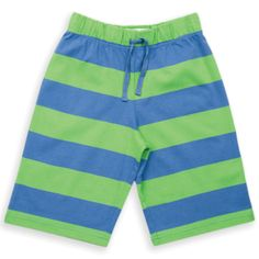 Bright  colourful boys' stripy shorts with fab elasticated waist and such comfy soft jersey cotton. By Kite Kids