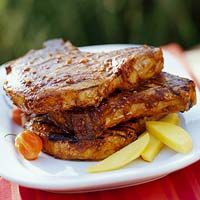 Marinate the pork overnight and these Spicy Grilled Pork Chops will be ready in for your summer get-together. More grilled pork recipes: Bbq Pork Ribs, Pork Ham, Grilled Pork Chops, Grilled Meat, Pork Rib Recipes, Grilling Recipes, Cooking Recipes, Healthy Recipes, Diabetic Recipes