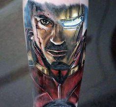 Mens Tattoo 3d Realistic Iron Man Superhero Design