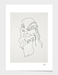 """""""One Line Chewie"""", Numbered Edition Affiches d'art by quibe - From 25,00€ - Curioos"""