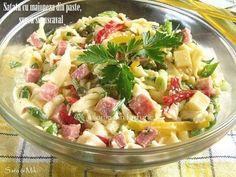 Satata-cu-maioneza-din-paste-sunca-si-cascaval-3-1 Cold Vegetable Salads, Romanian Food, Cooking Recipes, Healthy Recipes, Healthy Food, Cafe Food, 30 Minute Meals, Food Design, Pasta Salad