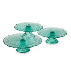 These colored glass cake plates would be perfect for displaying perfumes, jewelry, etc. The set of three is less than 15 bucks too!