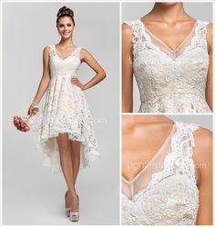 vestido de renda com decote V