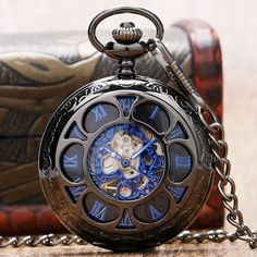 Top Brand Luxury Steampunk Hollow Skeleton Hand Wind Mechanical Pocket Watch Roman Numerals Dial with Vintage Fob Chain Watches Pendant Clock Gifts for Men Women Wind Up Pocket Watch, Skeleton Pocket Watch, Quartz Pocket Watch, Skeleton Watches, Vintage Pocket Watch, Skeleton Mechanical Watch, Mechanical Pocket Watch, Mechanical Hand, Pocket Watch Necklace